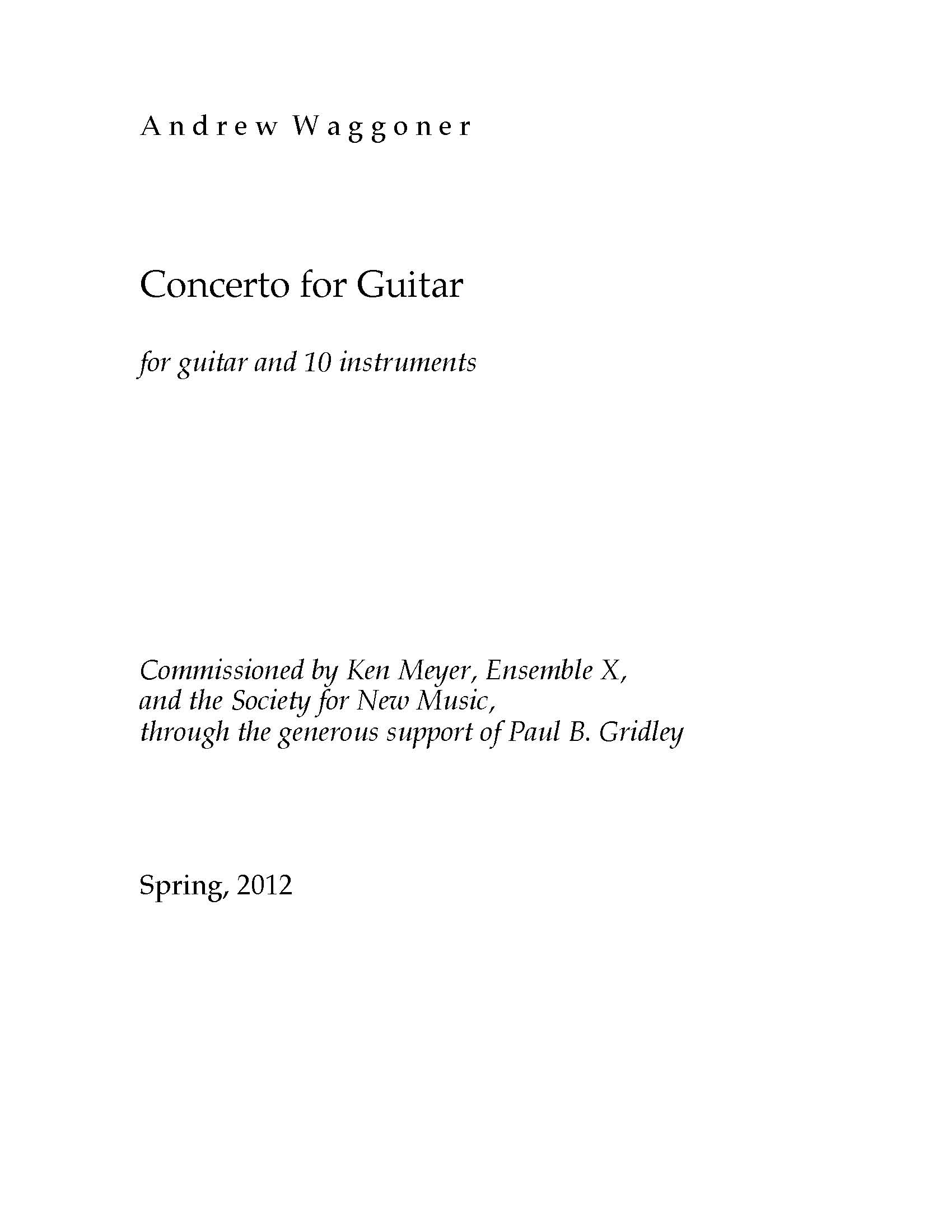 Concerto for Guitar for Guitar and 10 instruments